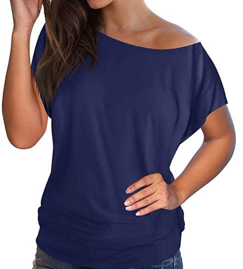 Off Shoulder Short Sleeve T-Shirt